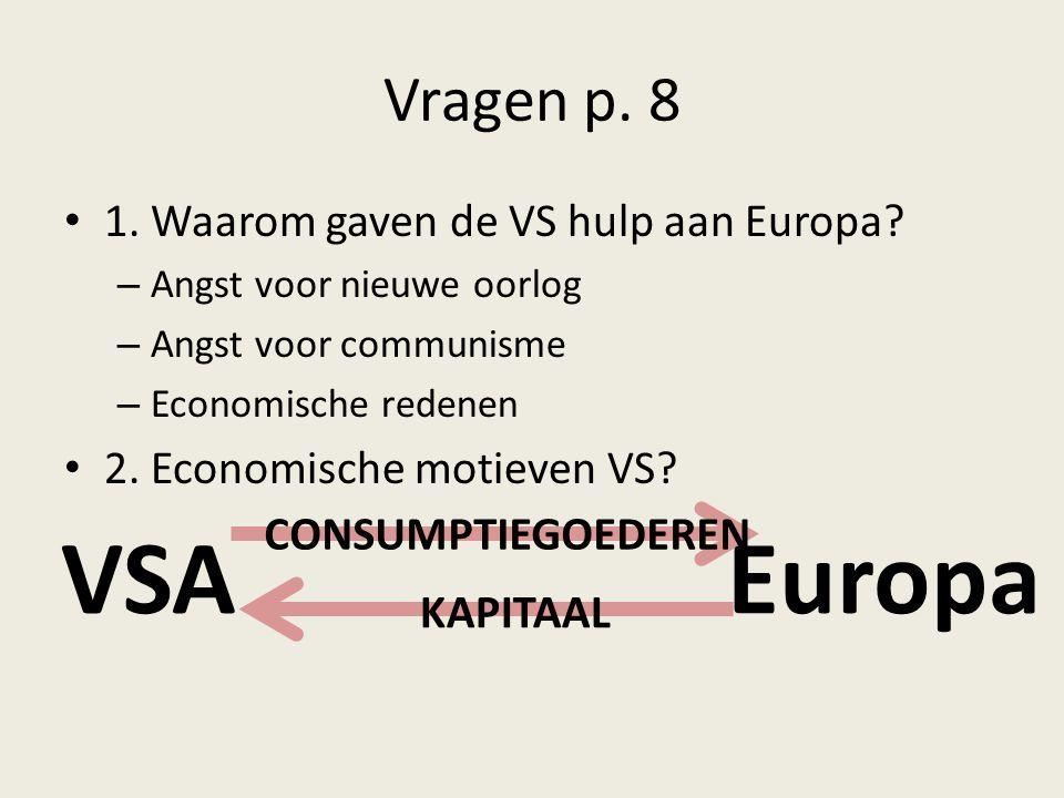 Vragen p. 8 1. Waarom gaven de VS hulp aan Europa? – Angst voor nieuwe oorlog – Angst voor communisme – Economische redenen 2. Economische motieven VS