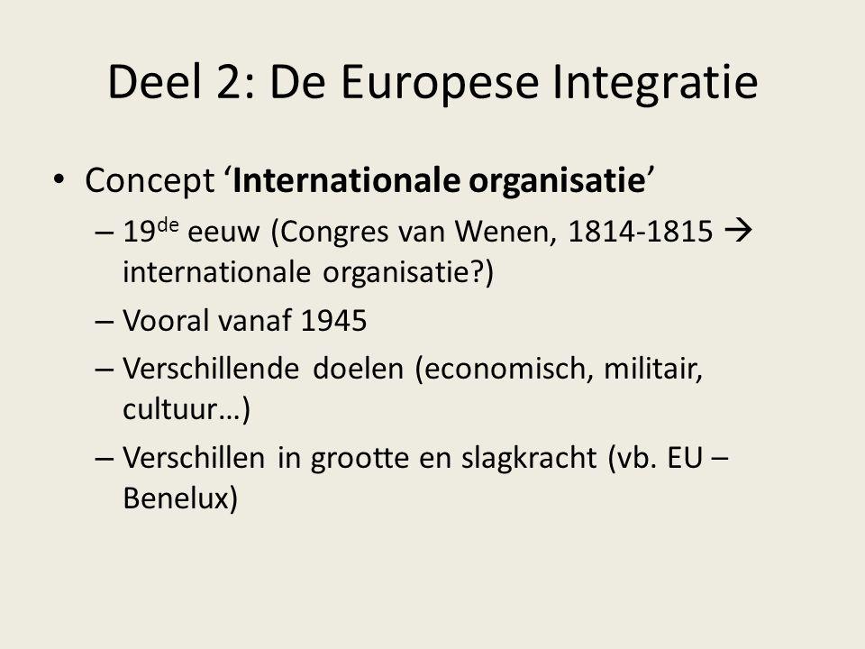 Deel 2: De Europese Integratie Concept 'Internationale organisatie' – 19 de eeuw (Congres van Wenen, 1814-1815  internationale organisatie?) – Vooral