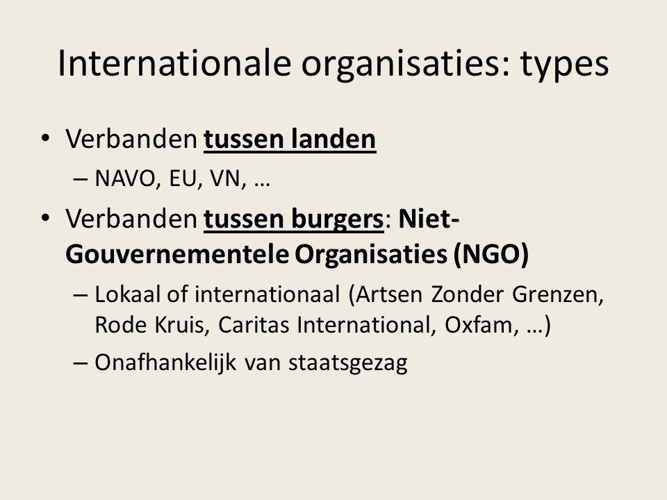 Internationale organisaties: types Verbanden tussen landen – NAVO, EU, VN, … Verbanden tussen burgers: Niet- Gouvernementele Organisaties (NGO) – Loka