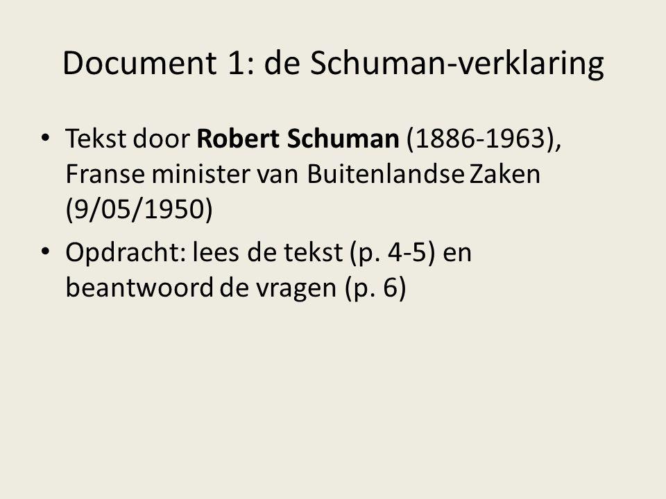 Document 1: de Schuman-verklaring Tekst door Robert Schuman (1886-1963), Franse minister van Buitenlandse Zaken (9/05/1950) Opdracht: lees de tekst (p
