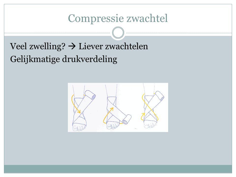 Compressie zwachtel Veel zwelling?  Liever zwachtelen Gelijkmatige drukverdeling