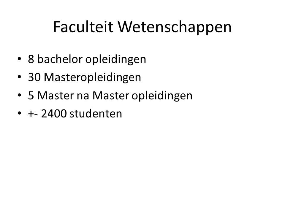Faculteit Wetenschappen 8 bachelor opleidingen 30 Masteropleidingen 5 Master na Master opleidingen +- 2400 studenten