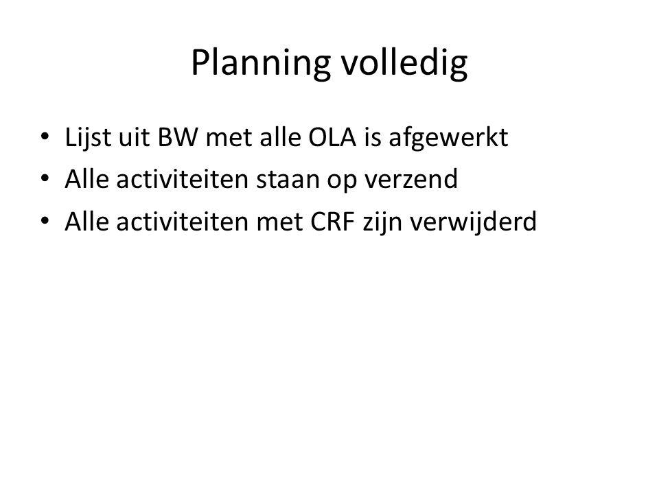 Planning volledig Lijst uit BW met alle OLA is afgewerkt Alle activiteiten staan op verzend Alle activiteiten met CRF zijn verwijderd