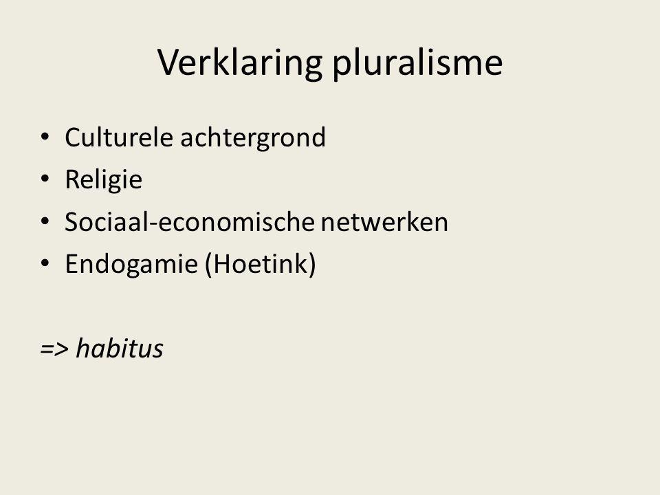 Verklaring pluralisme Culturele achtergrond Religie Sociaal-economische netwerken Endogamie (Hoetink) => habitus