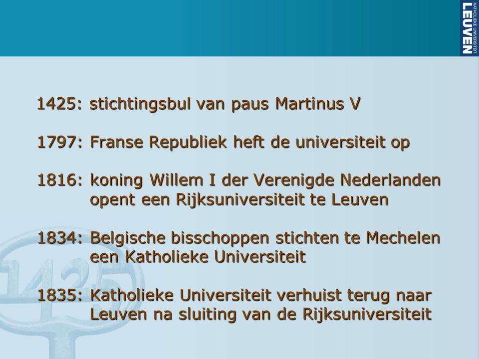 1425: stichtingsbul van paus Martinus V 1797: Franse Republiek heft de universiteit op 1797: Franse Republiek heft de universiteit op 1816: koning Wil