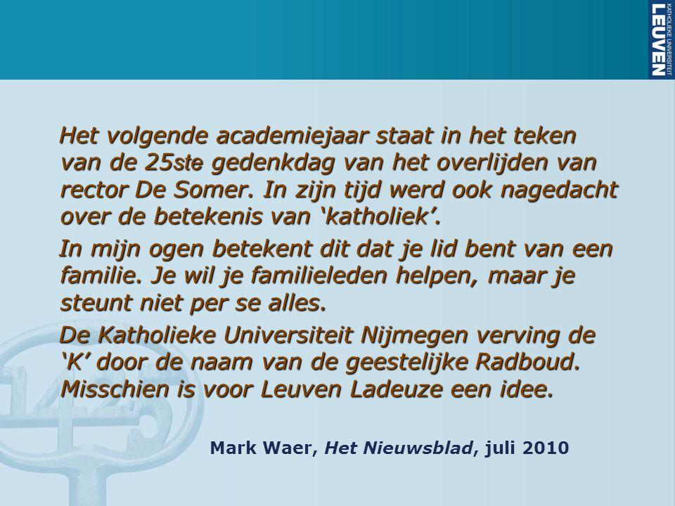Het volgende academiejaar staat in het teken van de 25 ste gedenkdag van het overlijden van rector De Somer.