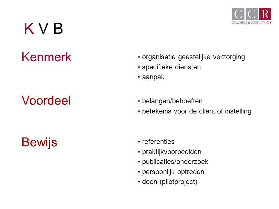 K V B Kenmerk organisatie geestelijke verzorging specifieke diensten aanpak belangen/behoeften betekenis voor de cliënt of instelling referenties prak