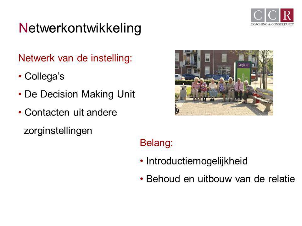 Netwerkontwikkeling Netwerk van de instelling: Collega's De Decision Making Unit Contacten uit andere zorginstellingen Belang: Introductiemogelijkheid