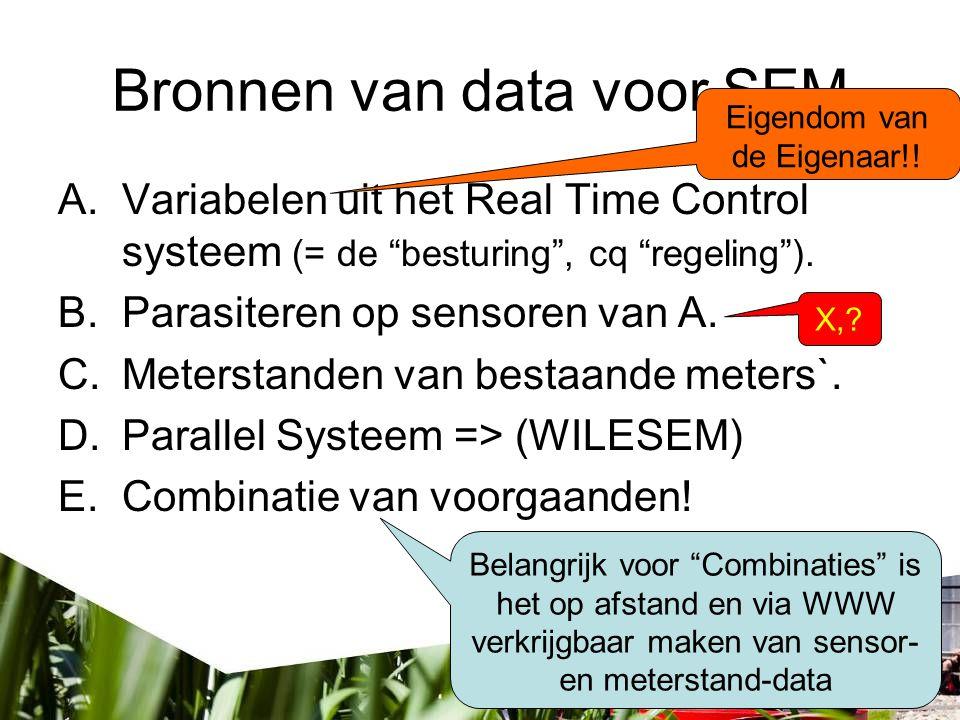 Bronnen van data voor SEM A.Variabelen uit het Real Time Control systeem (= de besturing , cq regeling ).