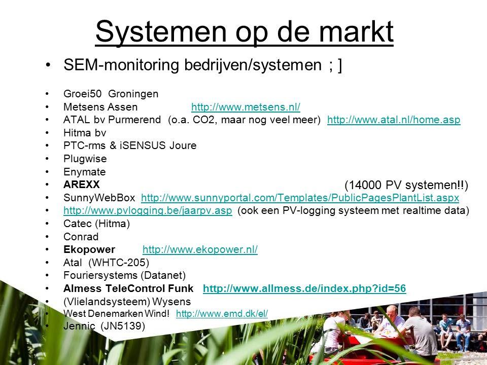 Systemen op de markt SEM-monitoring bedrijven/systemen ; ] Groei50 Groningen Metsens Assen http://www.metsens.nl/http://www.metsens.nl/ ATALbv Purmerend (o.a.