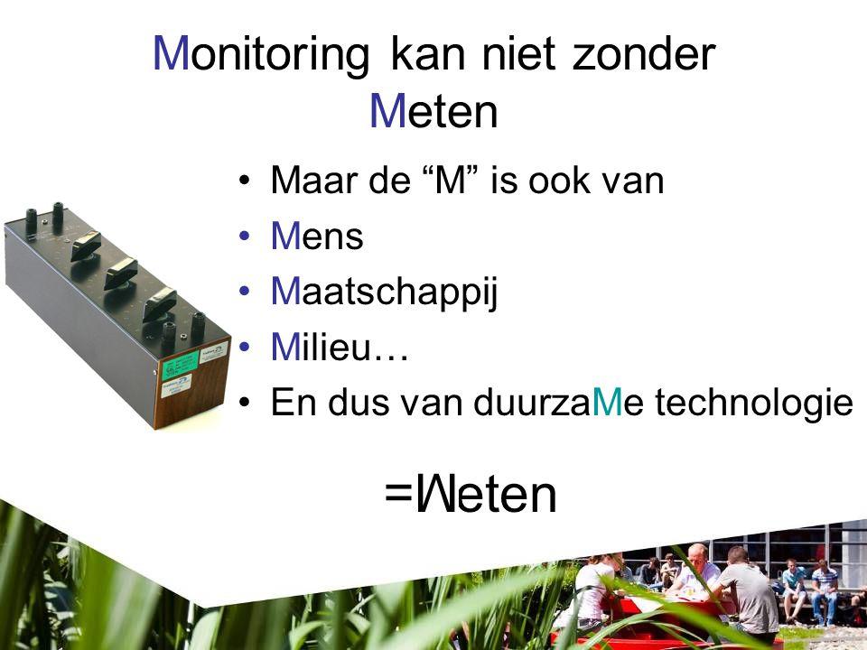 eten Monitoring kan niet zonder Meten Maar de M is ook van Mens Maatschappij Milieu… En dus van duurzaMe technologie M M=