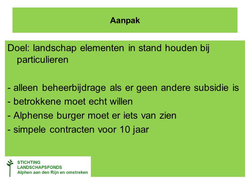 Aanpak Doel: landschap elementen in stand houden bij particulieren - alleen beheerbijdrage als er geen andere subsidie is - betrokkene moet echt willen - Alphense burger moet er iets van zien - simpele contracten voor 10 jaar