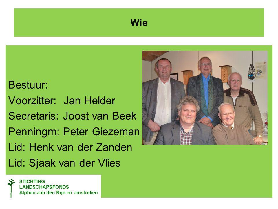 Wie Bestuur: Voorzitter: Jan Helder Secretaris: Joost van Beek Penningm: Peter Giezeman Lid: Henk van der Zanden Lid: Sjaak van der Vlies