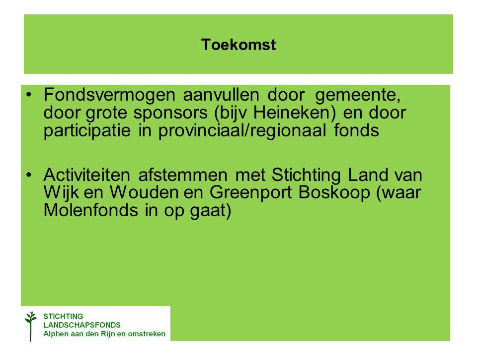 Toekomst Fondsvermogen aanvullen door gemeente, door grote sponsors (bijv Heineken) en door participatie in provinciaal/regionaal fonds Activiteiten afstemmen met Stichting Land van Wijk en Wouden en Greenport Boskoop (waar Molenfonds in op gaat)