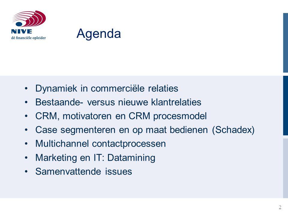 Agenda Dynamiek in commerciële relaties Bestaande- versus nieuwe klantrelaties CRM, motivatoren en CRM procesmodel Case segmenteren en op maat bediene