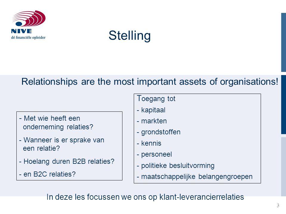 3 Relationships are the most important assets of organisations! Stelling - Met wie heeft een onderneming relaties? - Wanneer is er sprake van een rela