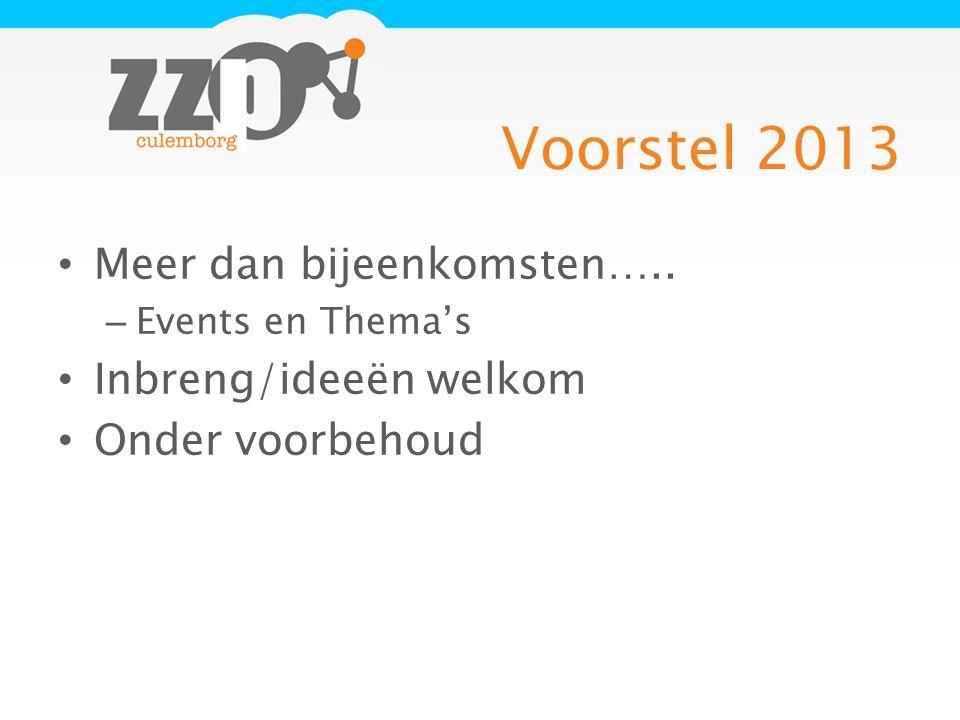 Voorstel 2013 Meer dan bijeenkomsten….. – Events en Thema's Inbreng/ideeën welkom Onder voorbehoud
