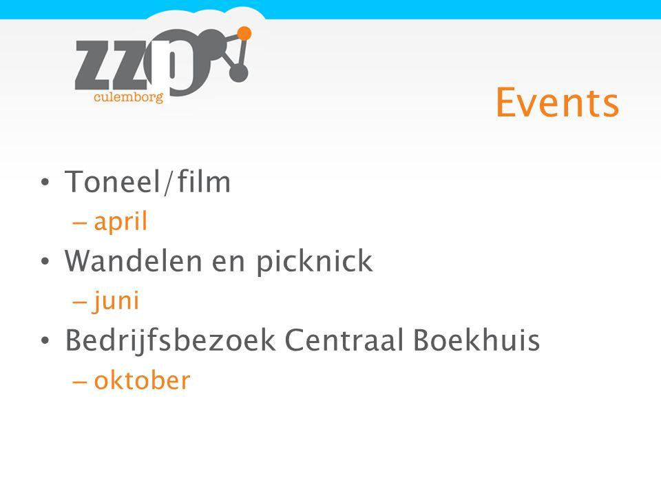 Events Toneel/film – april Wandelen en picknick – juni Bedrijfsbezoek Centraal Boekhuis – oktober