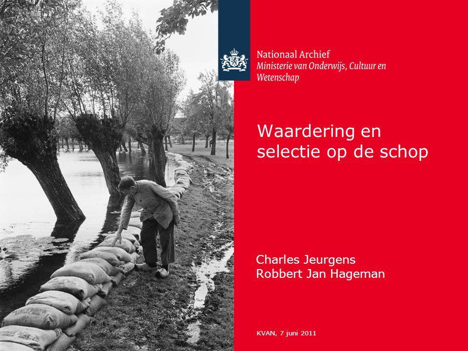 Waardering en selectie op de schop Charles Jeurgens Robbert Jan Hageman KVAN, 7 juni 2011