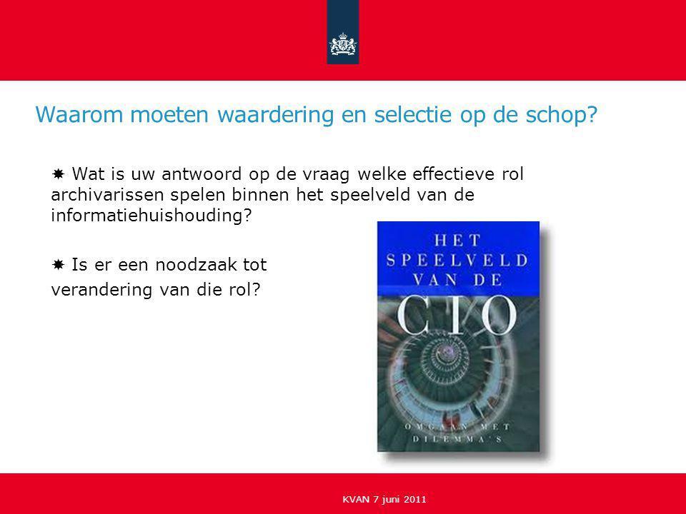 Aspecten van een professionele informatiehuishouding KVAN, 7 juni 2011 Welke rol spelen waardering en selectie van informatie binnen een professionele informatiehuishouding?