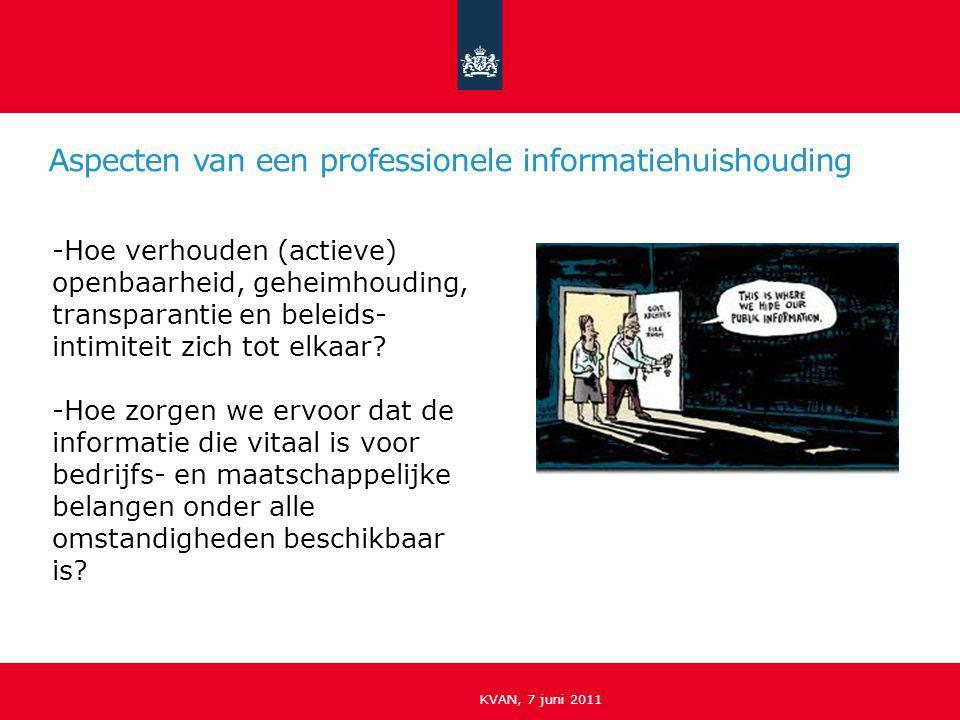 Aspecten van een professionele informatiehuishouding KVAN, 7 juni 2011 -Hoe verhouden (actieve) openbaarheid, geheimhouding, transparantie en beleids-