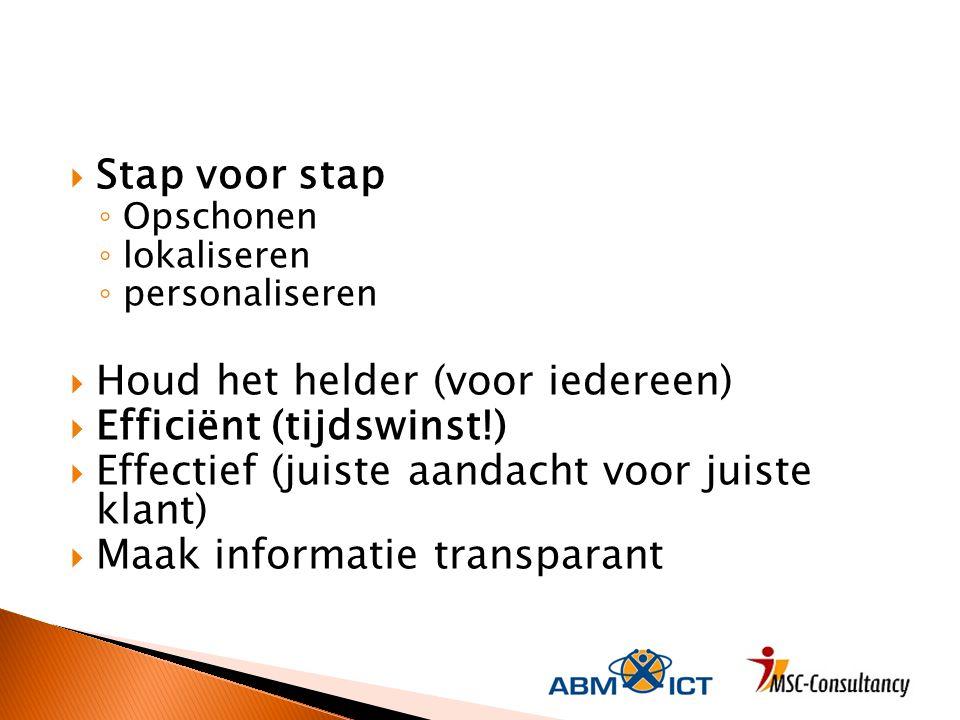  Stap voor stap ◦ Opschonen ◦ lokaliseren ◦ personaliseren  Houd het helder (voor iedereen)  Efficiënt (tijdswinst!)  Effectief (juiste aandacht voor juiste klant)  Maak informatie transparant