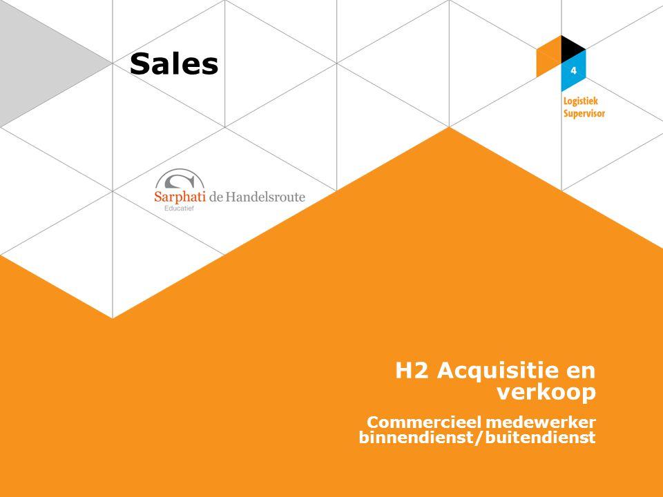 Sales H2 Acquisitie en verkoop Commercieel medewerker binnendienst/buitendienst