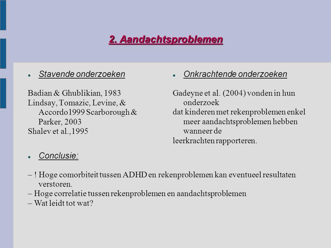 2. Aandachtsproblemen Stavende onderzoeken Badian & Ghublikian, 1983 Lindsay, Tomazic, Levine, & Accordo1999 Scarborough & Parker, 2003 Shalev et al.,