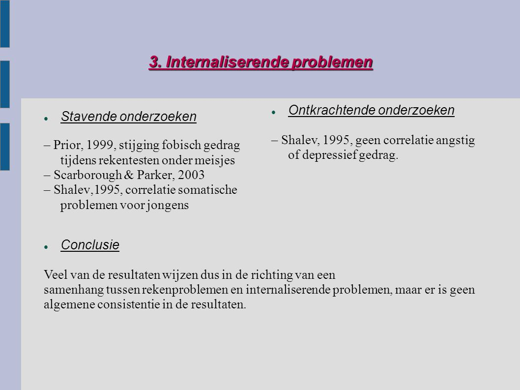 3. Internaliserende problemen Stavende onderzoeken – Prior, 1999, stijging fobisch gedrag tijdens rekentesten onder meisjes – Scarborough & Parker, 20