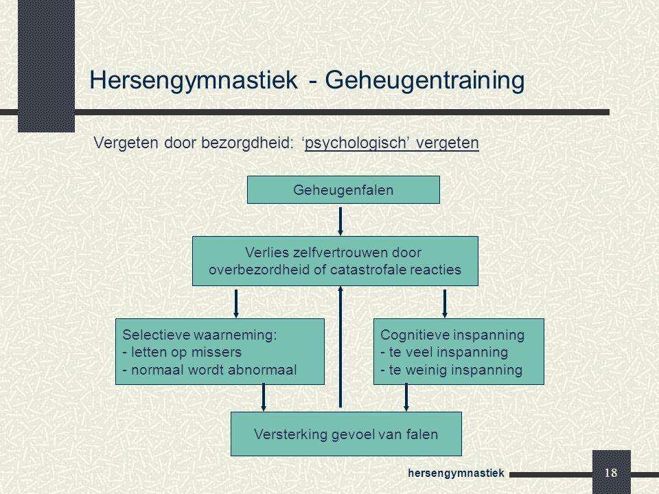 hersengymnastiek 18 Geheugenfalen Verlies zelfvertrouwen door overbezordheid of catastrofale reacties Selectieve waarneming: - letten op missers - nor