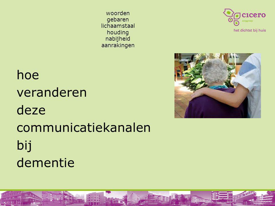 woorden gebaren lichaamstaal houding nabijheid aanrakingen hoe veranderen deze communicatiekanalen bij dementie
