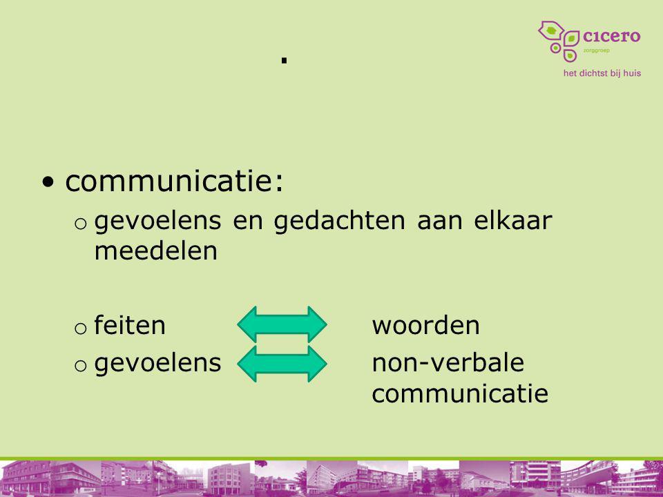 . communicatie: o gevoelens en gedachten aan elkaar meedelen o feiten woorden o gevoelens non-verbale communicatie