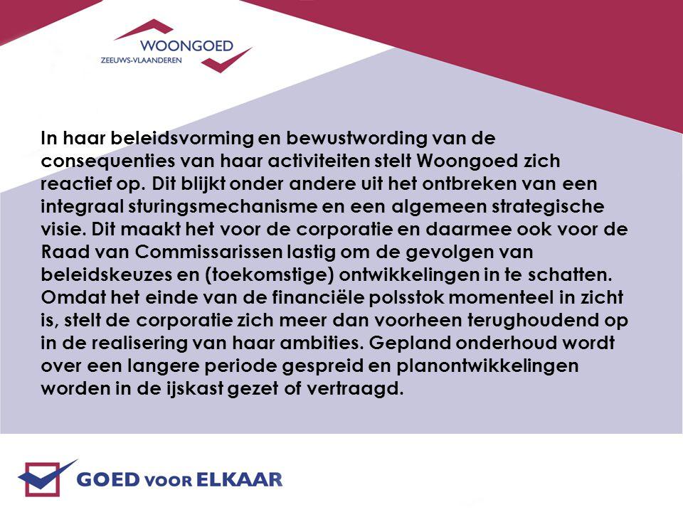 In haar beleidsvorming en bewustwording van de consequenties van haar activiteiten stelt Woongoed zich reactief op.