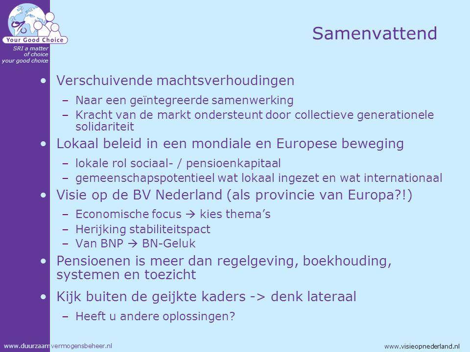 www.duurzaamvermogensbeheer.nl SRI a matter of choice your good choice www.visieopnederland.nl Samenvattend Verschuivende machtsverhoudingen –Naar een