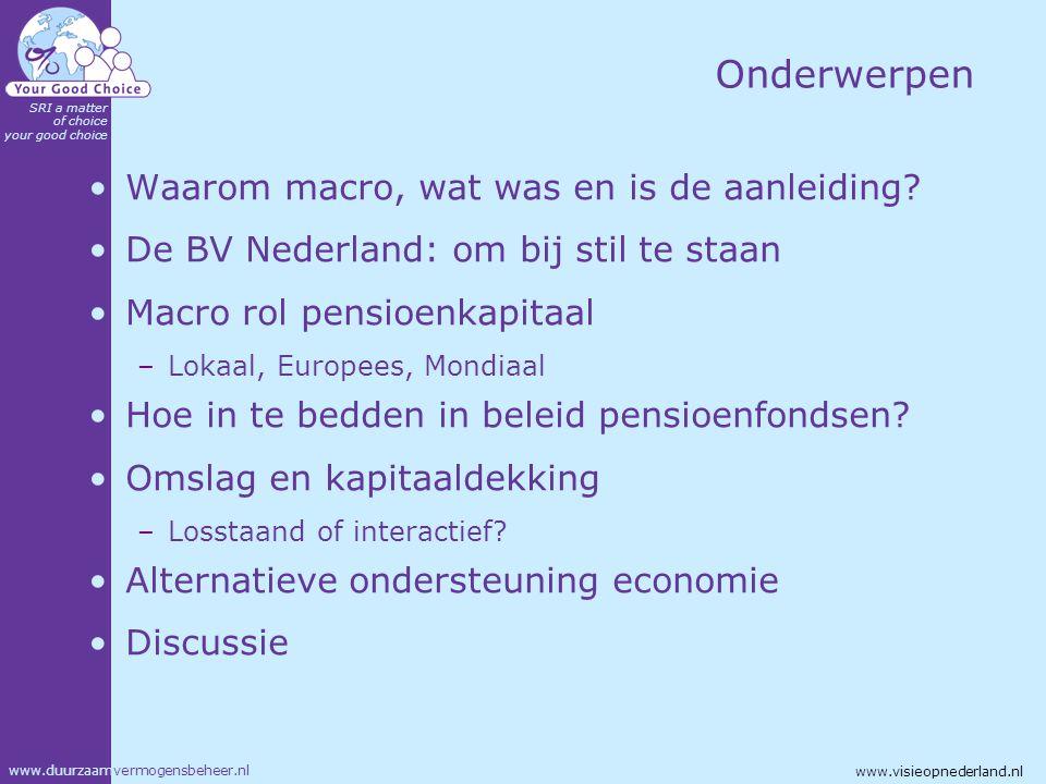www.duurzaamvermogensbeheer.nl SRI a matter of choice your good choice www.visieopnederland.nl Onderwerpen Waarom macro, wat was en is de aanleiding?