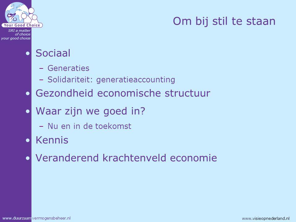 www.duurzaamvermogensbeheer.nl SRI a matter of choice your good choice www.visieopnederland.nl Om bij stil te staan Sociaal –Generaties –Solidariteit: generatieaccounting Gezondheid economische structuur Waar zijn we goed in.