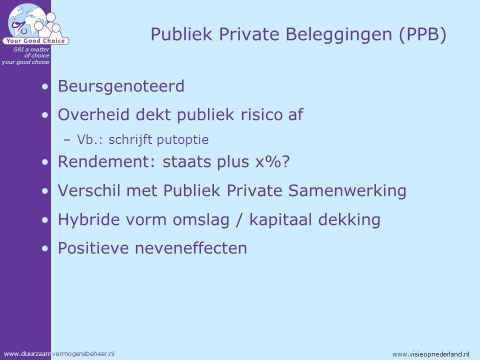 www.duurzaamvermogensbeheer.nl SRI a matter of choice your good choice www.visieopnederland.nl Publiek Private Beleggingen (PPB) Beursgenoteerd Overhe