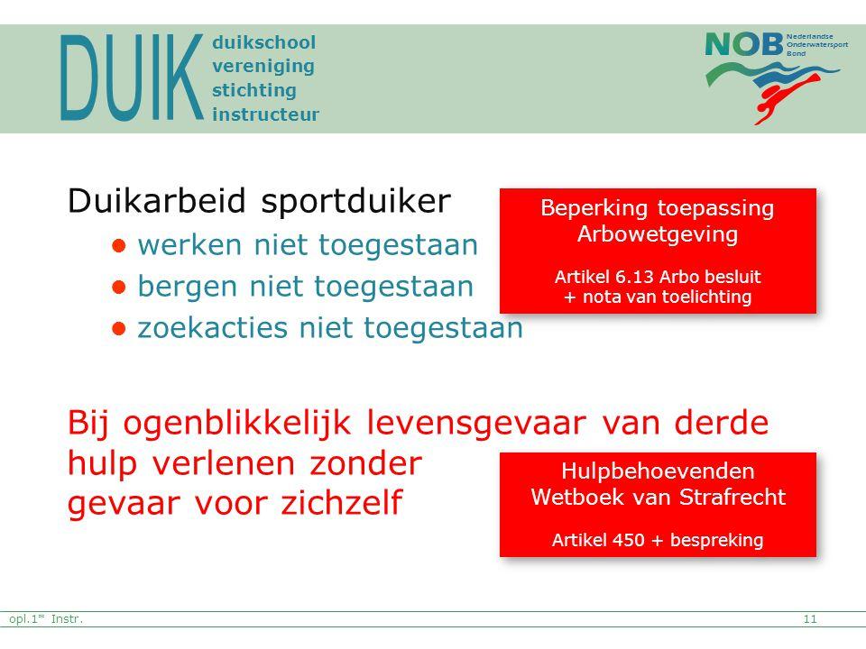 Nederlandse Onderwatersport Bond Duikarbeid sportduiker werken niet toegestaan bergen niet toegestaan zoekacties niet toegestaan Bij ogenblikkelijk le
