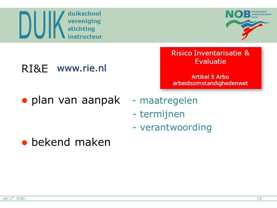 Nederlandse Onderwatersport Bond RI&E plan van aanpak - maatregelen - termijnen - verantwoording bekend maken Risico Inventarisatie & Evaluatie Artike