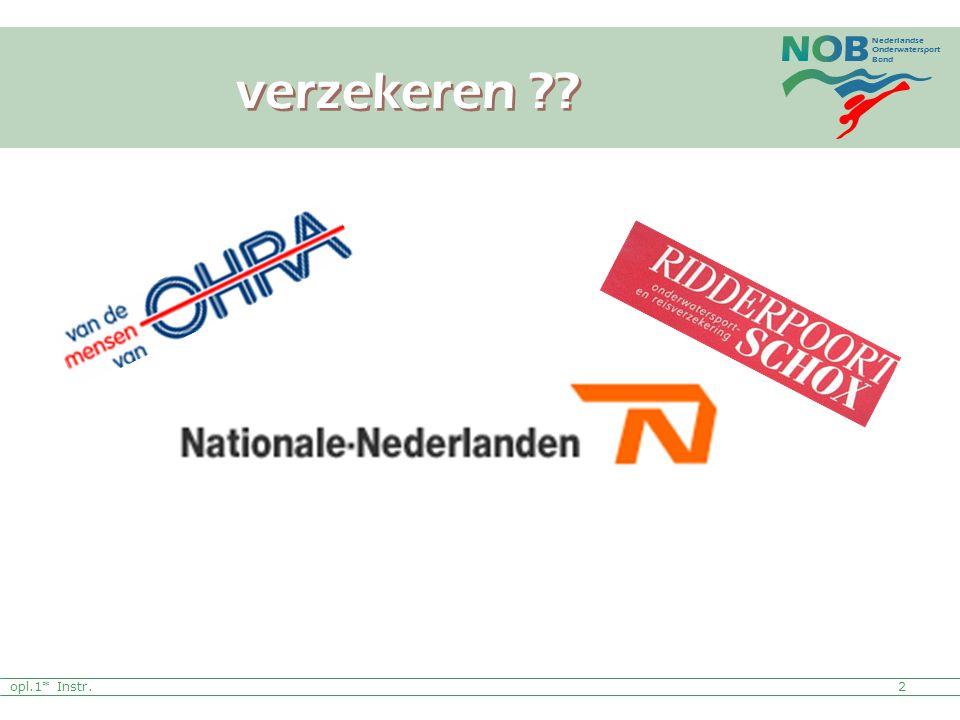 Nederlandse Onderwatersport Bond 2 verzekeren ?? opl.1* Instr.