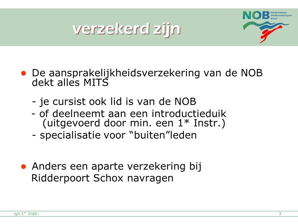 Nederlandse Onderwatersport Bond opl.1* Instr. De aansprakelijkheidsverzekering van de NOB dekt alles MITS - je cursist ook lid is van de NOB - of dee