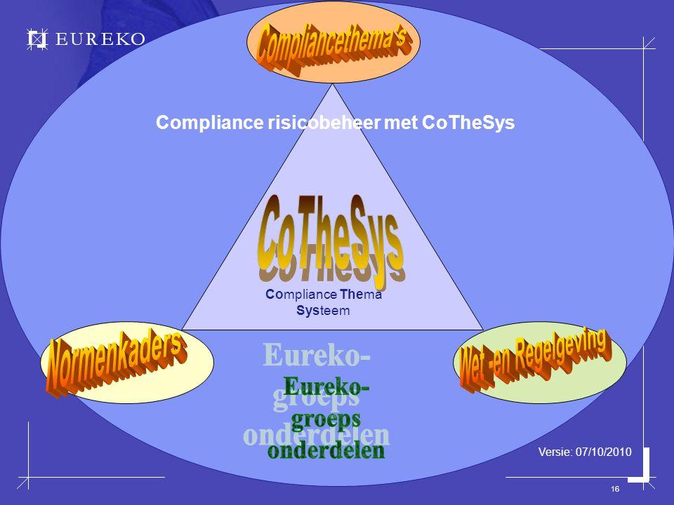 EUREKO 16 Compliance Thema Systeem Compliance risicobeheer met CoTheSys Versie: 07/10/2010