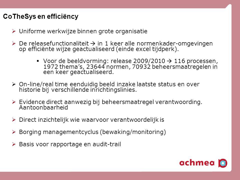CoTheSys en efficiëncy  Uniforme werkwijze binnen grote organisatie  De releasefunctionaliteit  in 1 keer alle normenkader-omgevingen op efficiënte
