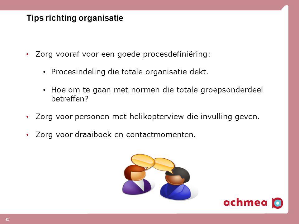 32 Tips richting organisatie Zorg vooraf voor een goede procesdefiniëring: Procesindeling die totale organisatie dekt. Hoe om te gaan met normen die t