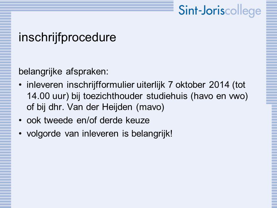 inschrijfprocedure belangrijke afspraken: inleveren inschrijfformulier uiterlijk 7 oktober 2014 (tot 14.00 uur) bij toezichthouder studiehuis (havo en vwo) of bij dhr.