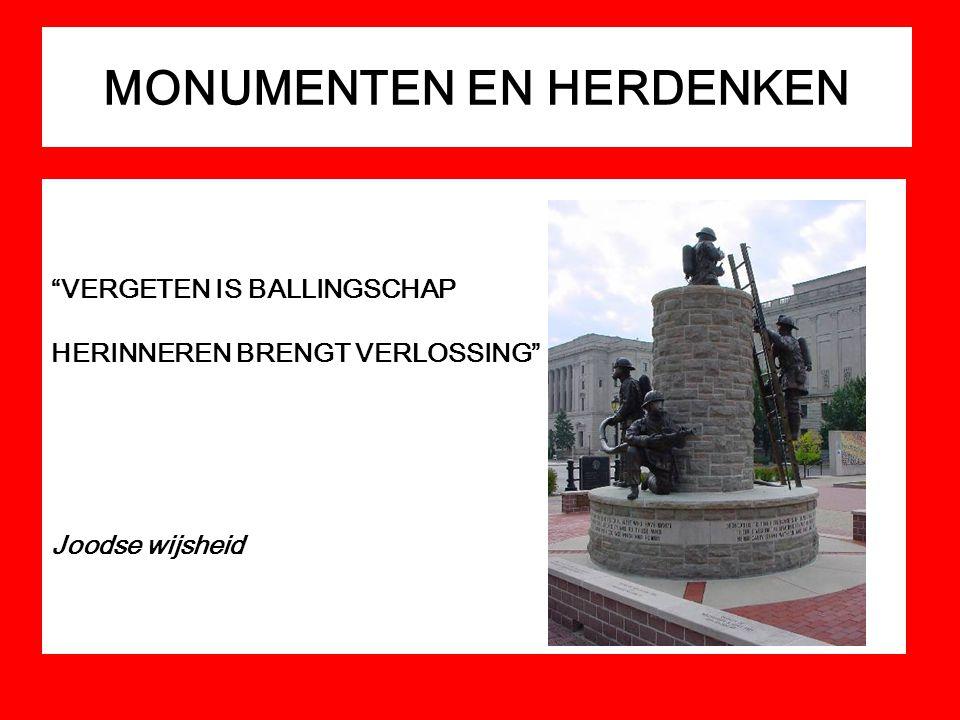 """MONUMENTEN EN HERDENKEN """"VERGETEN IS BALLINGSCHAP HERINNEREN BRENGT VERLOSSING"""" Joodse wijsheid"""