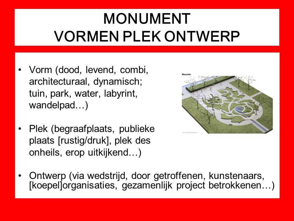 MONUMENT VORMEN PLEK ONTWERP Vorm (dood, levend, combi, architecturaal, dynamisch; tuin, park, water, labyrint, wandelpad…) Plek (begraafplaats, publi