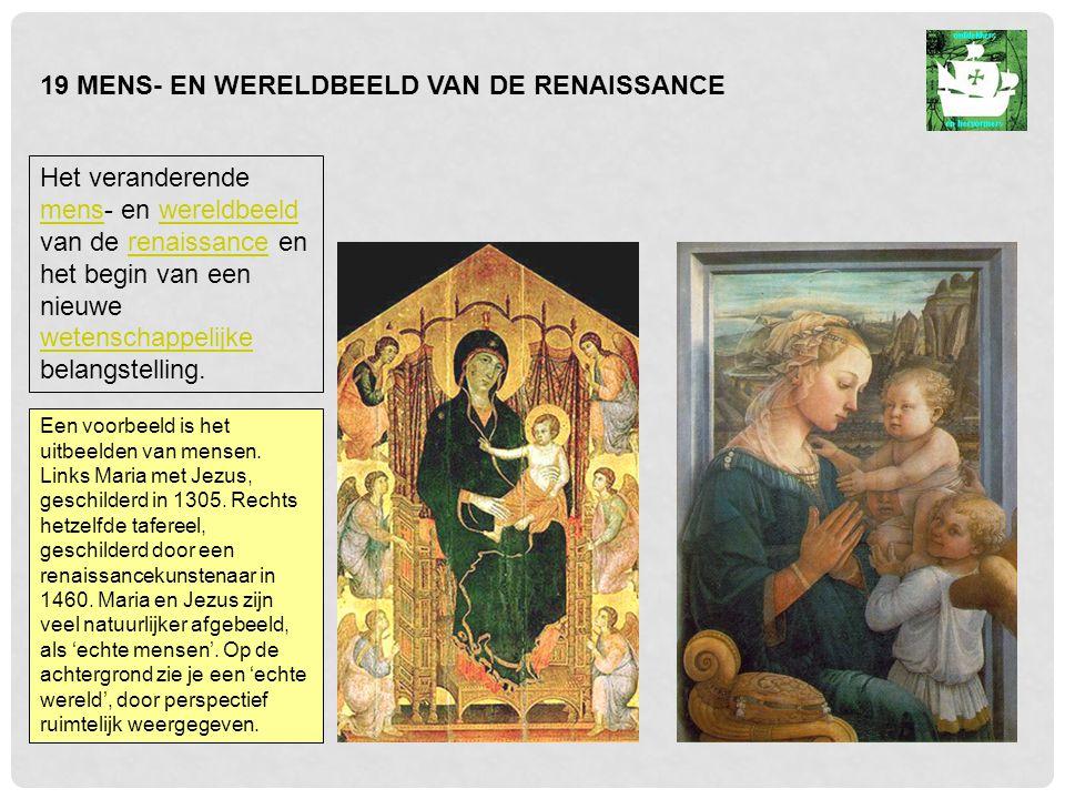 Een voorbeeld is het uitbeelden van mensen.Links Maria met Jezus, geschilderd in 1305.