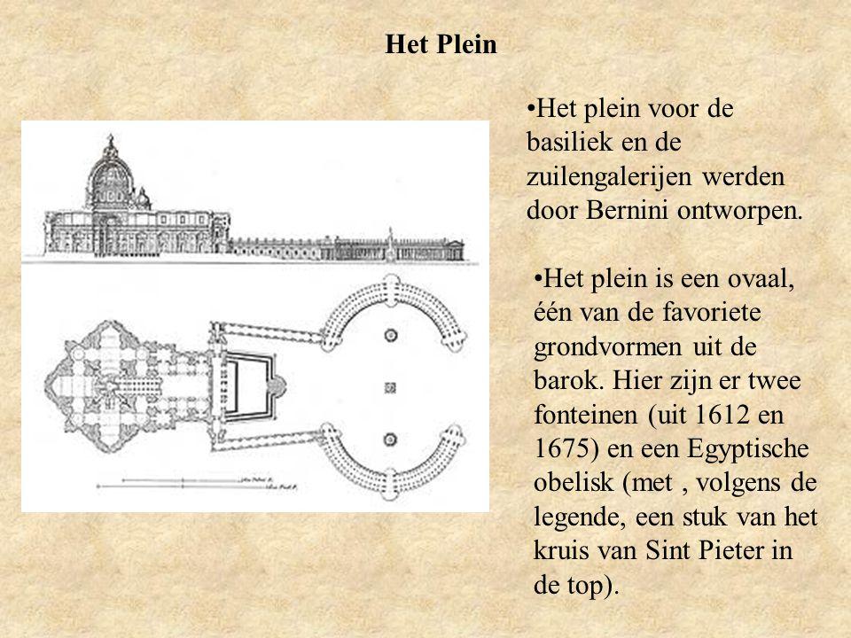 Het Plein Het plein voor de basiliek en de zuilengalerijen werden door Bernini ontworpen. Het plein is een ovaal, één van de favoriete grondvormen uit