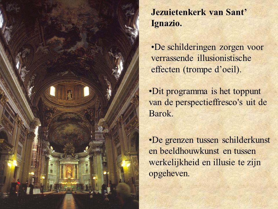 Jezuietenkerk van Sant' Ignazio. De schilderingen zorgen voor verrassende illusionistische effecten (trompe d'oeil). Dit programma is het toppunt van